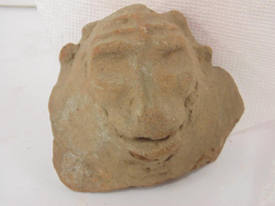 3 pre-Columbian pieces, small figure holding pot & 2 - 6