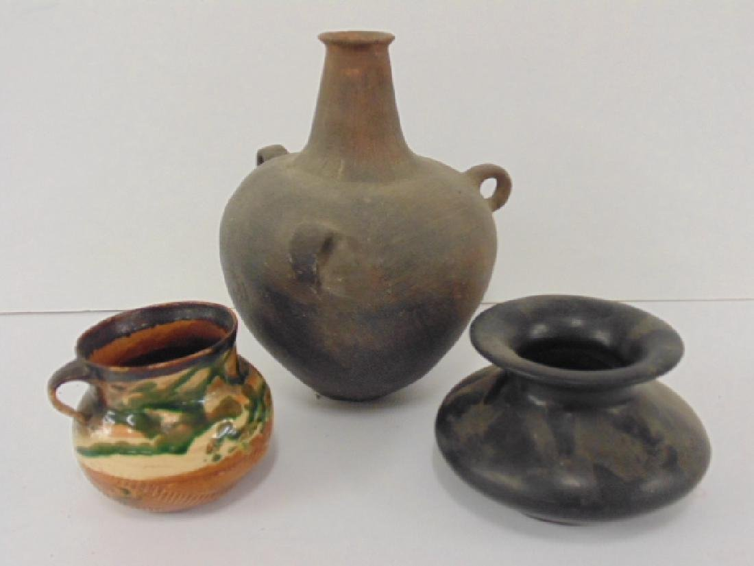 3 pieces South American, Indian pottery