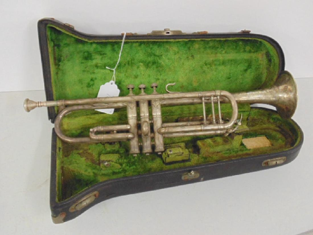 Elkhart silver plated trumpet in case