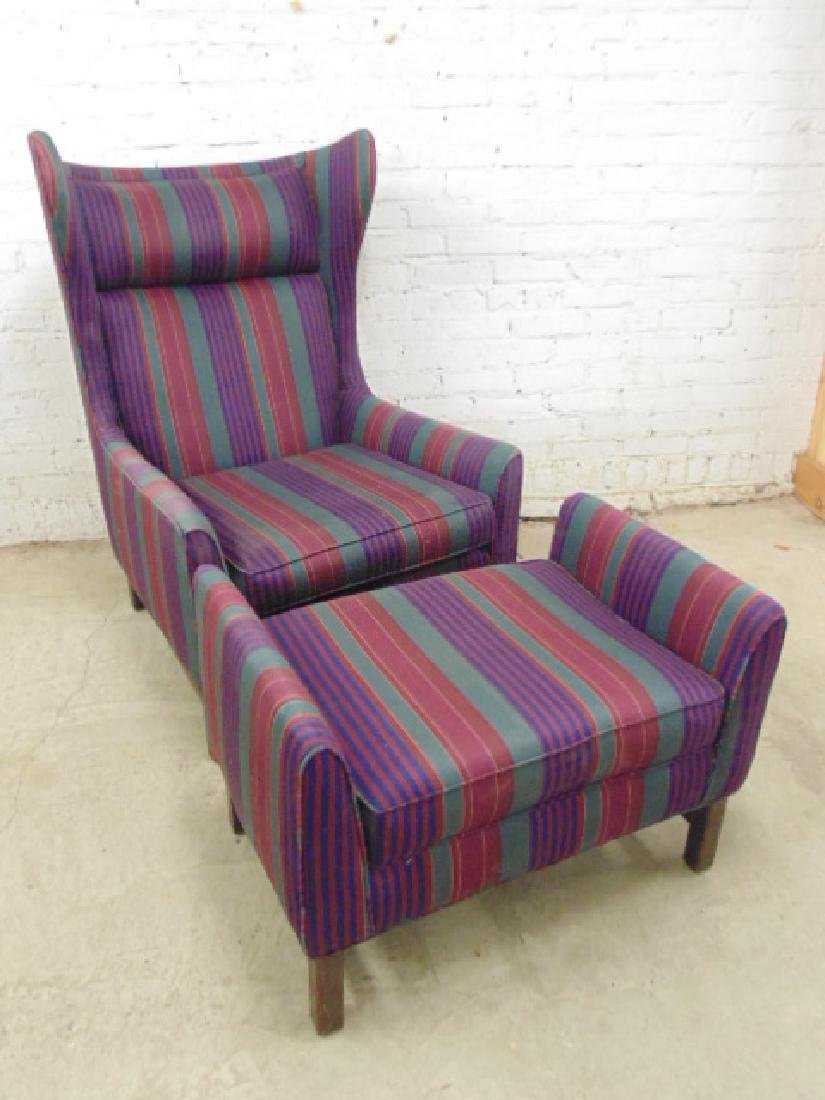 Upholstered mid Century wing back chair with matching
