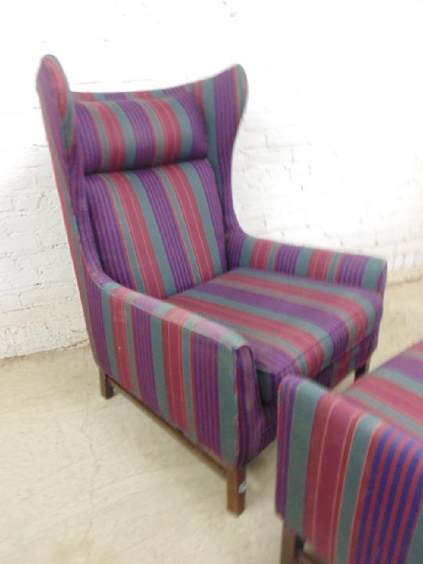 Upholstered mid Century wing back chair with matching - 2