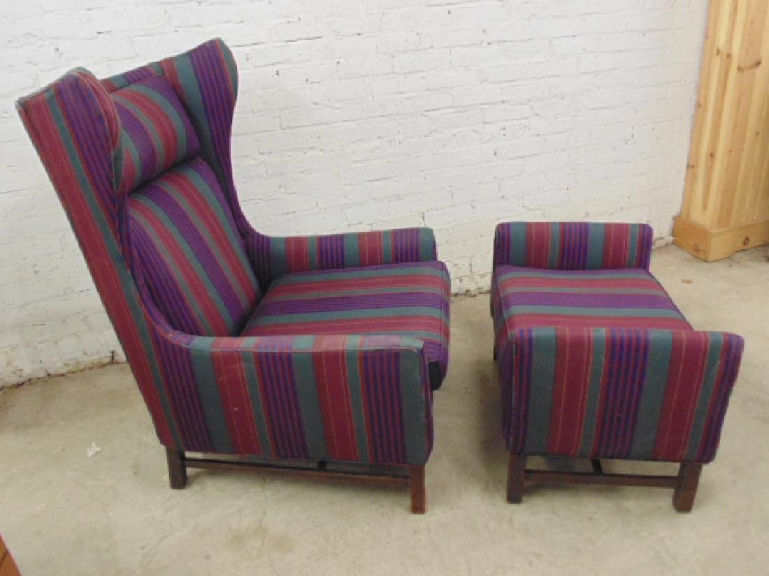 Upholstered mid Century wing back chair with matching - 3