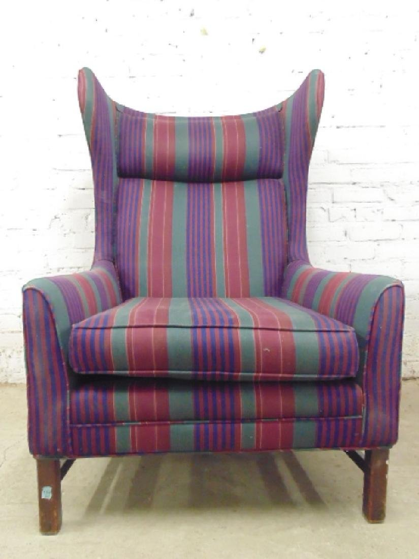 Upholstered mid Century wing back chair with matching - 4