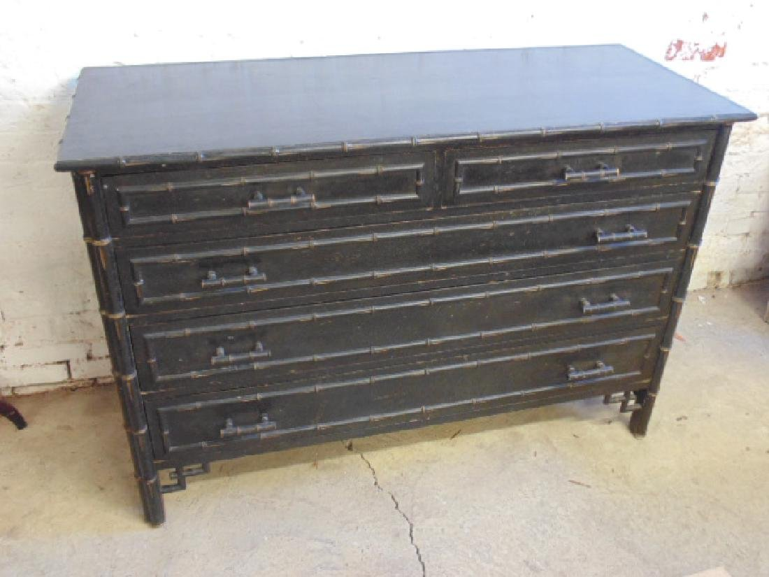 Ebonized 2 over 3 chest drawer with bamboo trim