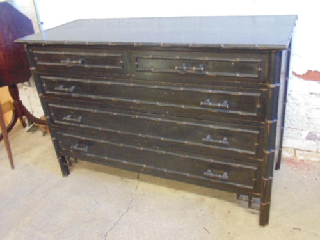 Ebonized 2 over 3 chest drawer with bamboo trim - 2