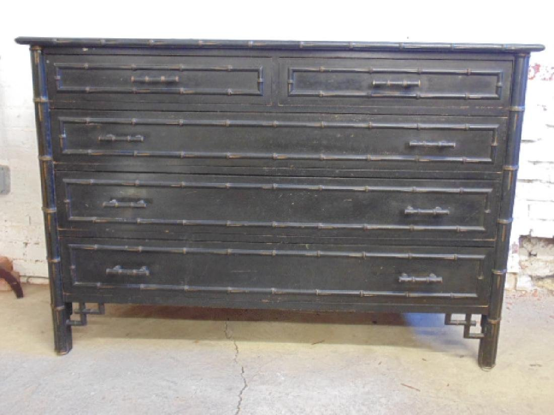 Ebonized 2 over 3 chest drawer with bamboo trim - 3