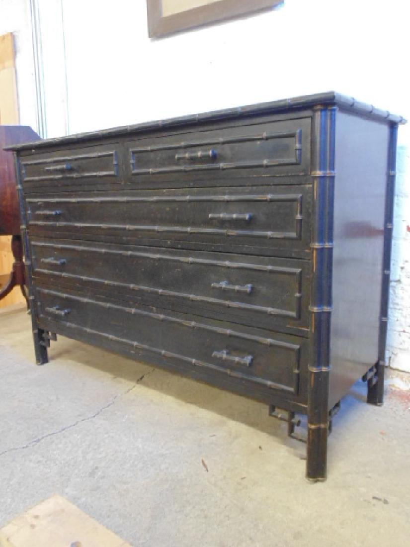 Ebonized 2 over 3 chest drawer with bamboo trim - 5