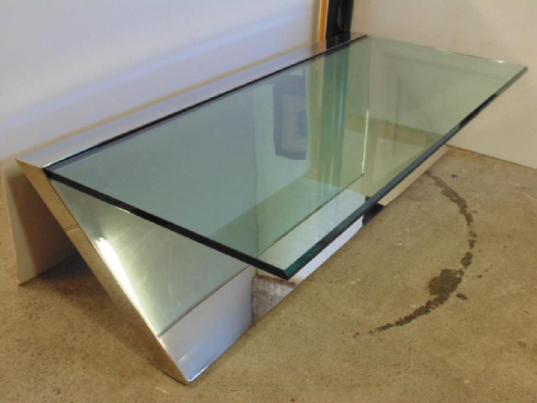 Glass & Stainless coffee table  J.Wade Beam for Brueton