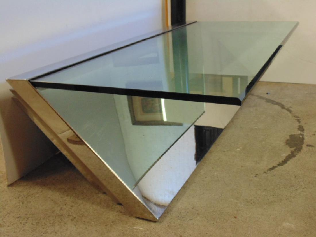 Glass & Stainless coffee table  J.Wade Beam for Brueton - 2