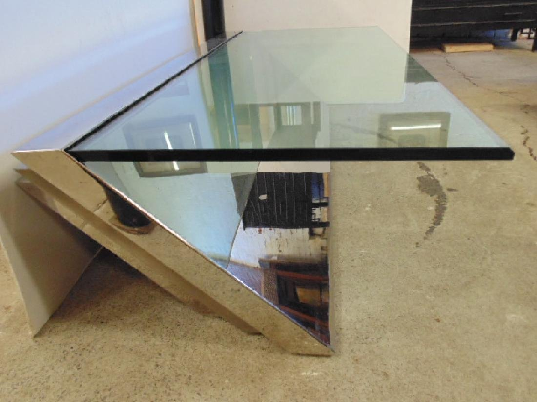 Glass & Stainless coffee table  J.Wade Beam for Brueton - 3