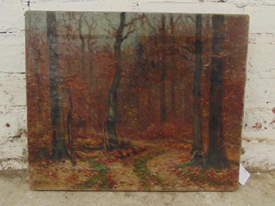 Painting, autumn landscape, trees, signed Frank A.