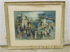 Watercolor, abstract, signed Michael Loew, 1955