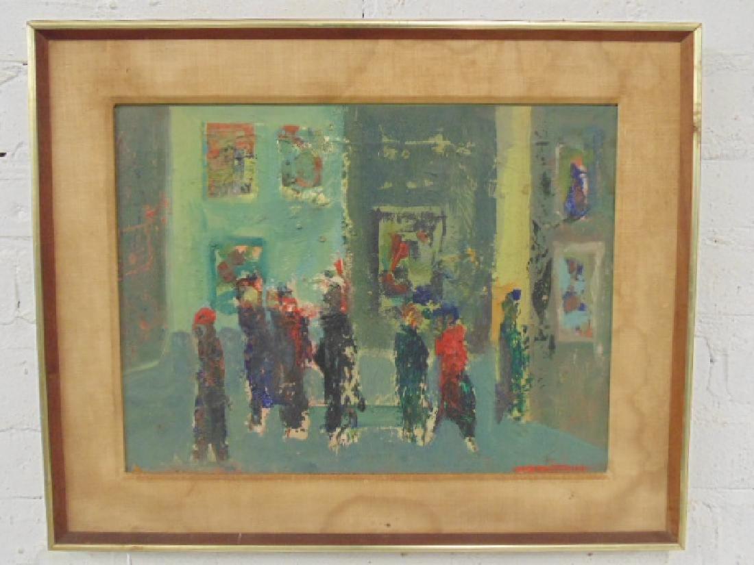 Painting, figures, street, signed Rosenstein (?)