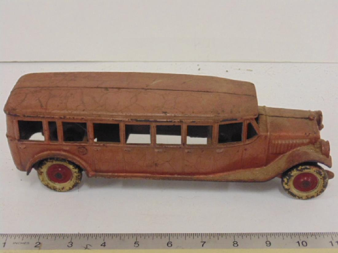 """Cast iron bus, toy, no marks, bus is 10.5"""""""