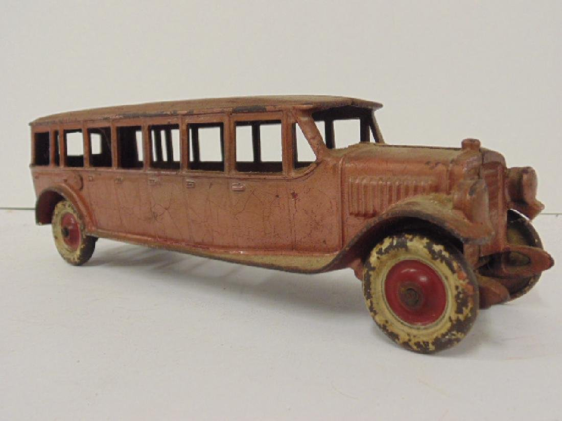 """Cast iron bus, toy, no marks, bus is 10.5"""" - 2"""