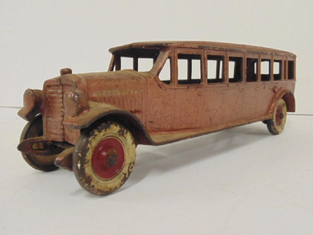"""Cast iron bus, toy, no marks, bus is 10.5"""" - 3"""