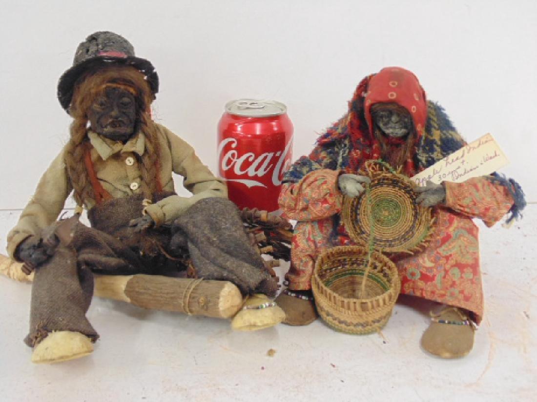 2 Ta-Nuk Indian figures, apple head basket weaver