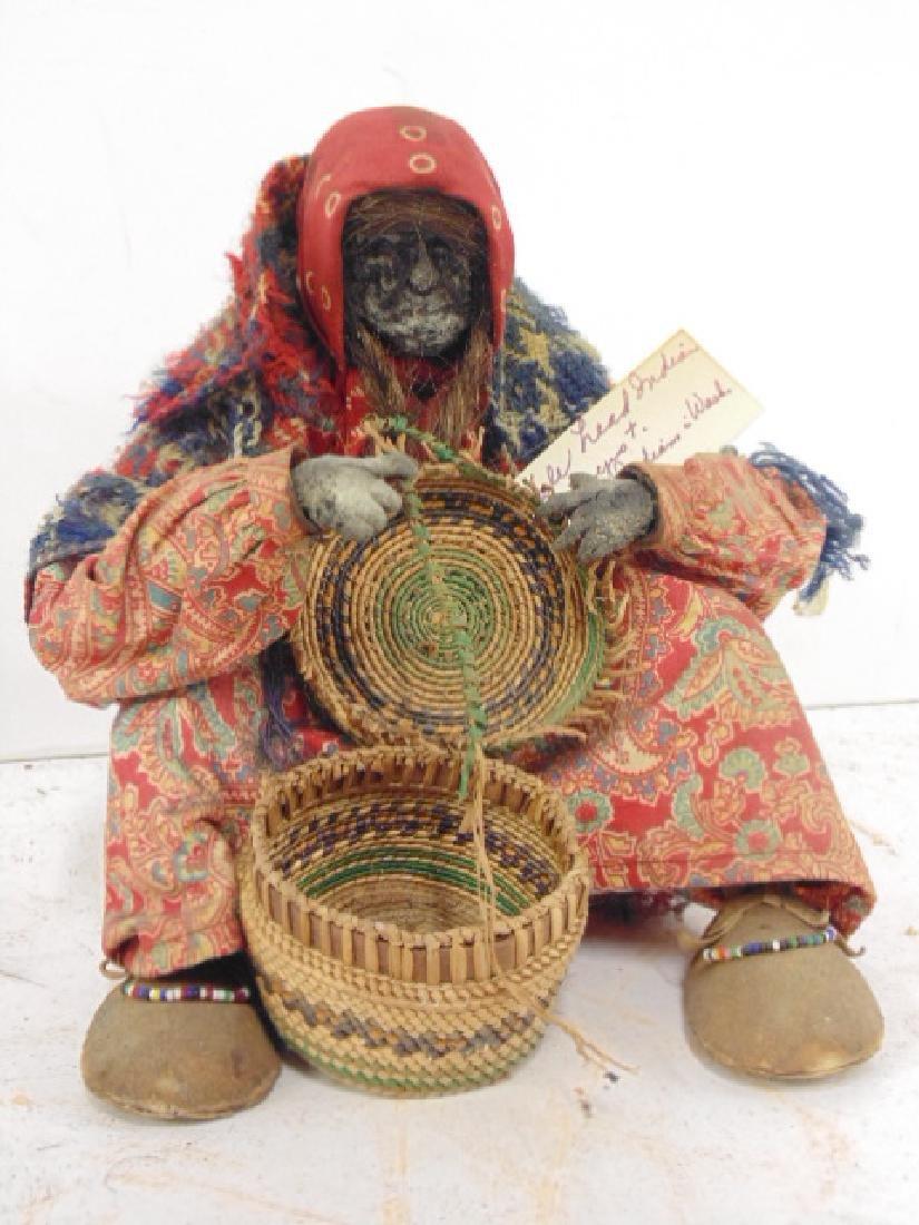 2 Ta-Nuk Indian figures, apple head basket weaver - 2