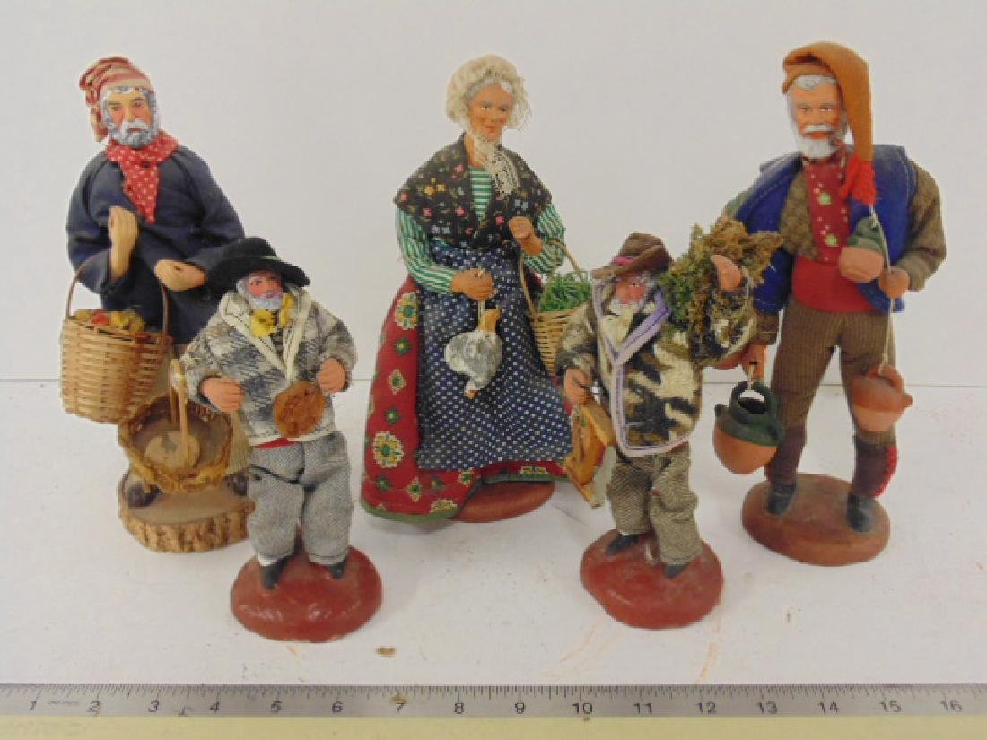 5 ethnic terra cotta M. Chave Aubagne handpainted dolls