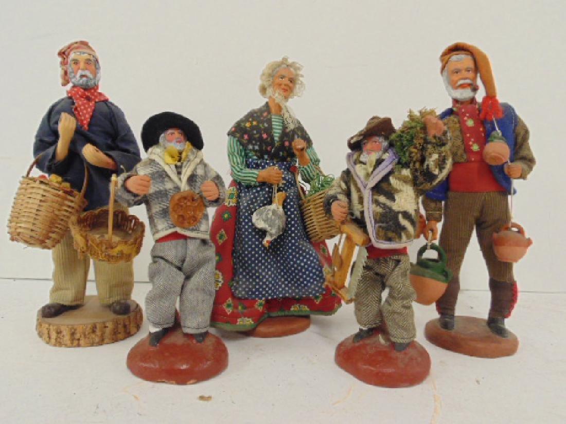 5 ethnic terra cotta M. Chave Aubagne handpainted dolls - 2