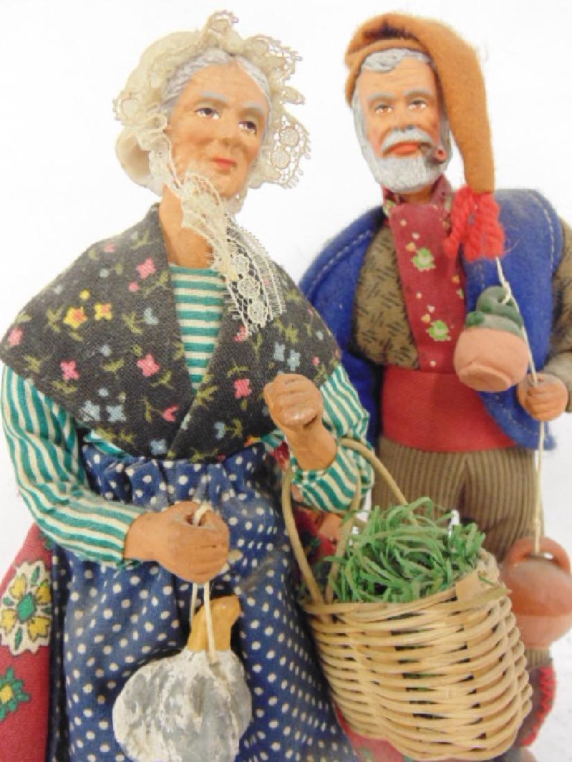 5 ethnic terra cotta M. Chave Aubagne handpainted dolls - 5