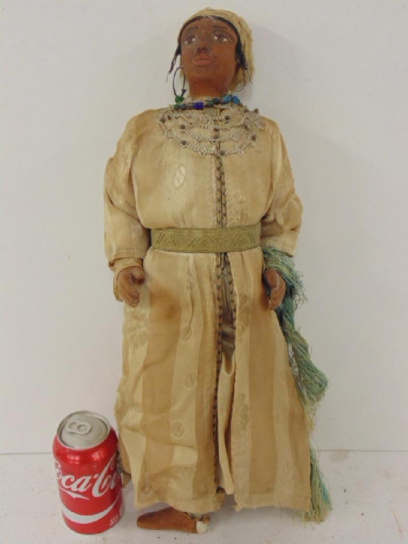 Large gypsy doll, vintage clothing, one foot missing