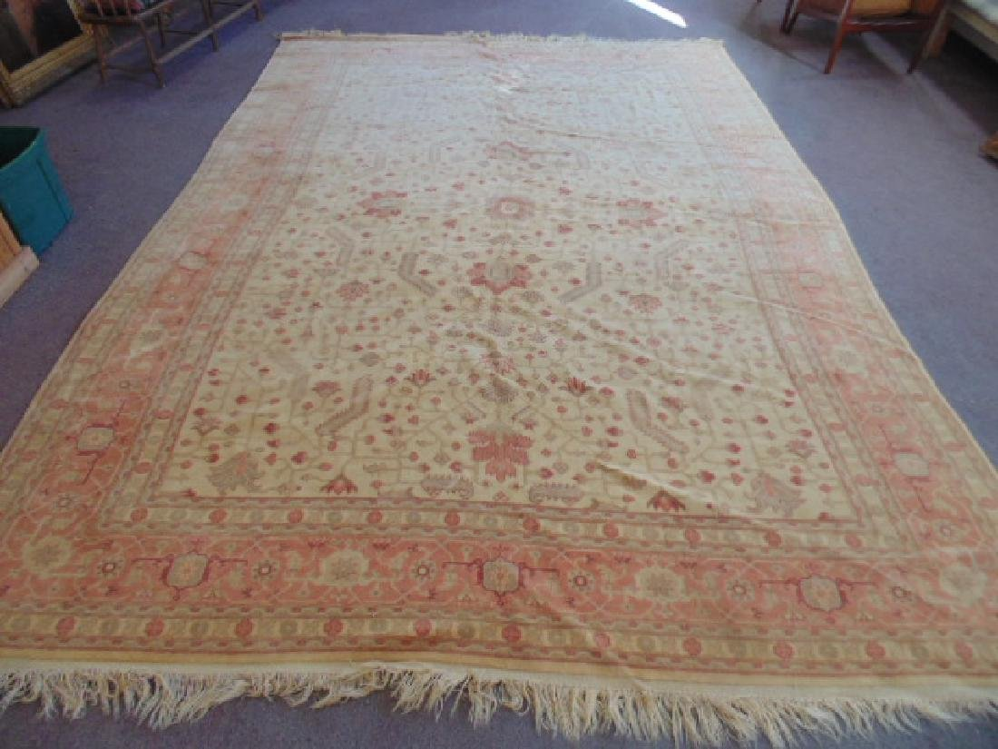 Room size Persian carpet, rug, pink, 10' by 14'