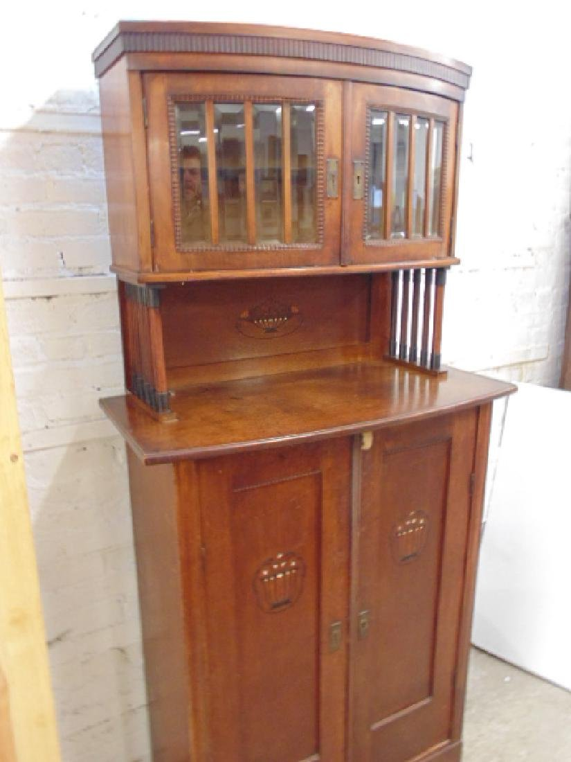 Arts and crafts cabinet, glass door top, inlaid doors - 2