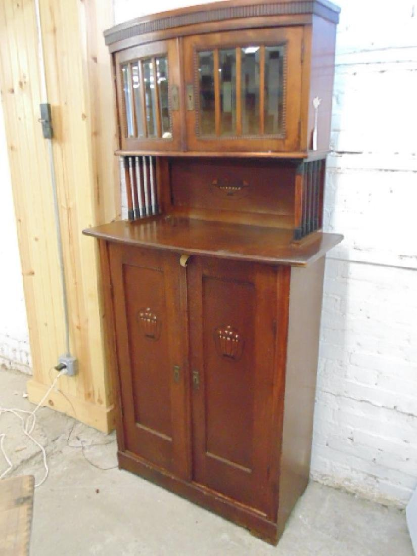 Arts and crafts cabinet, glass door top, inlaid doors - 3