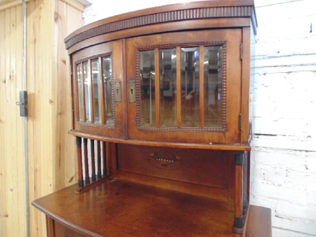 Arts and crafts cabinet, glass door top, inlaid doors - 4