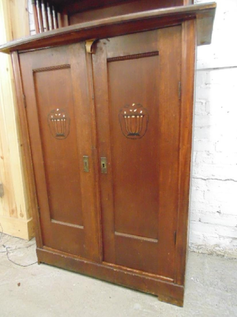 Arts and crafts cabinet, glass door top, inlaid doors - 5
