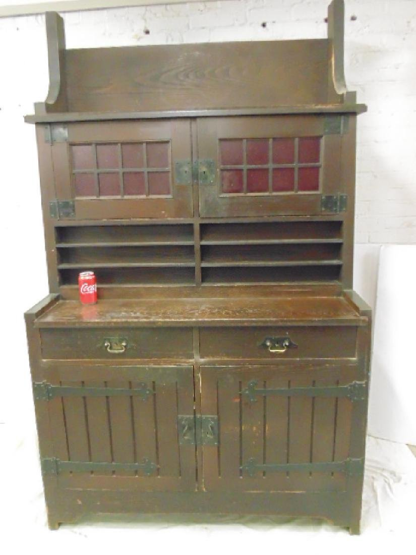 Oak arts & crafts bar cabinet, manner of Roycroft