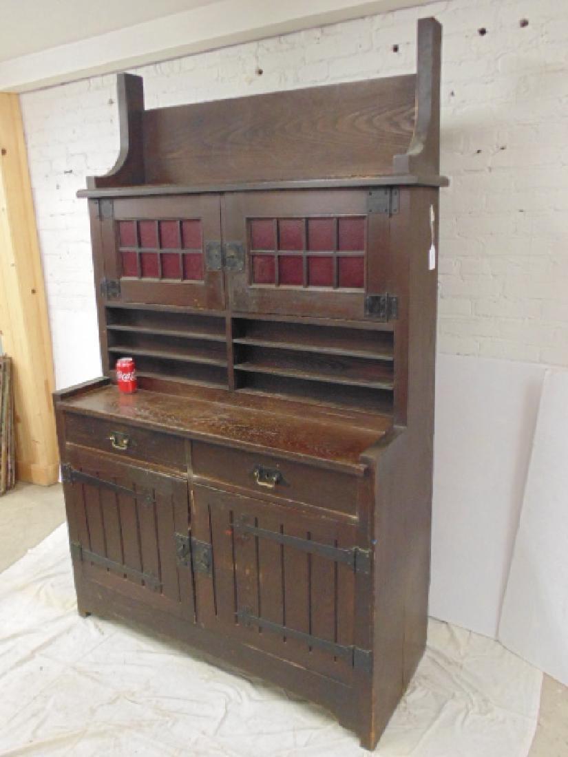 Oak arts & crafts bar cabinet, manner of Roycroft - 2
