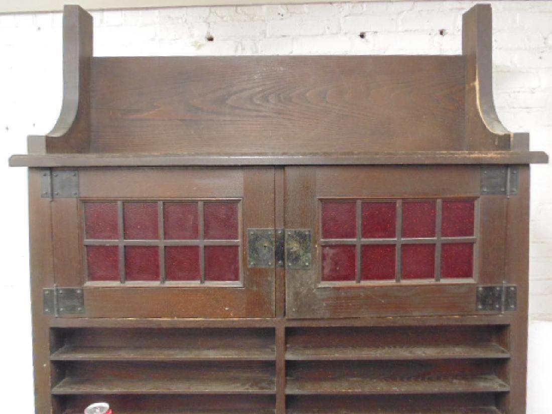 Oak arts & crafts bar cabinet, manner of Roycroft - 3