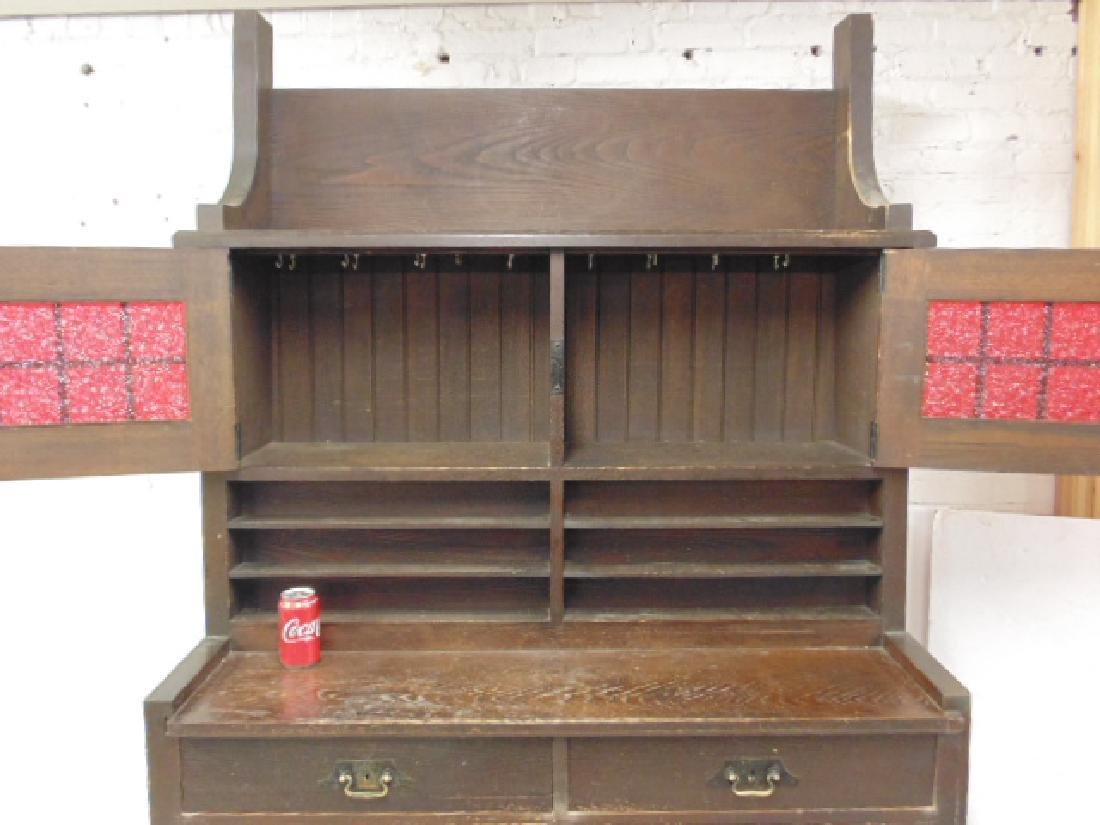 Oak arts & crafts bar cabinet, manner of Roycroft - 4