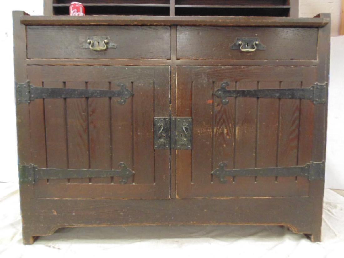 Oak arts & crafts bar cabinet, manner of Roycroft - 5