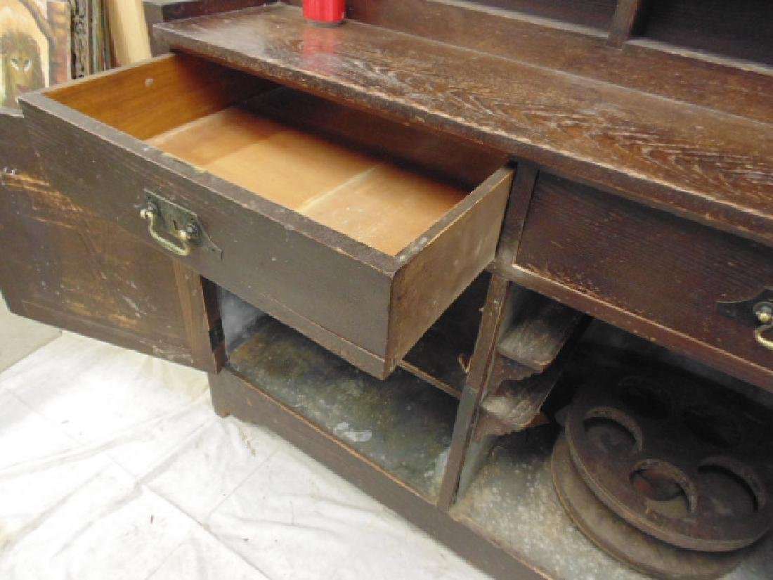 Oak arts & crafts bar cabinet, manner of Roycroft - 7