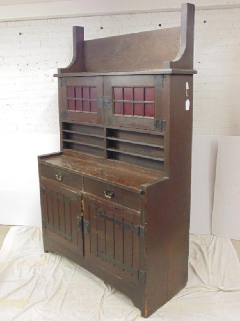 Oak arts & crafts bar cabinet, manner of Roycroft - 8