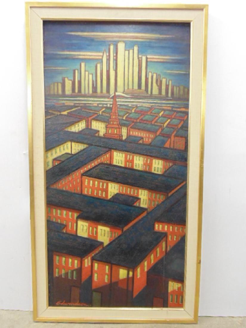 Painting, by Larry Edwardson, City mazelike rooftops,