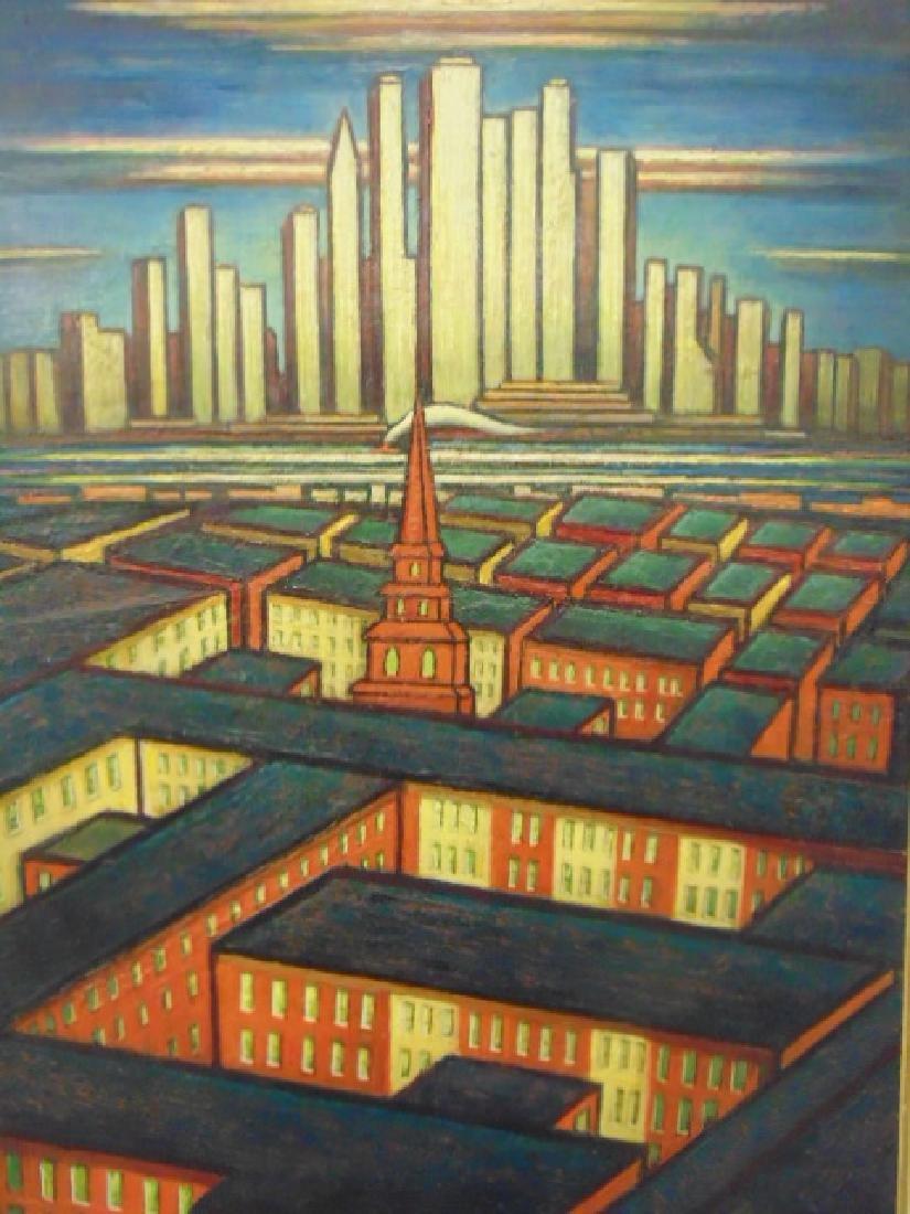 Painting, by Larry Edwardson, City mazelike rooftops, - 2