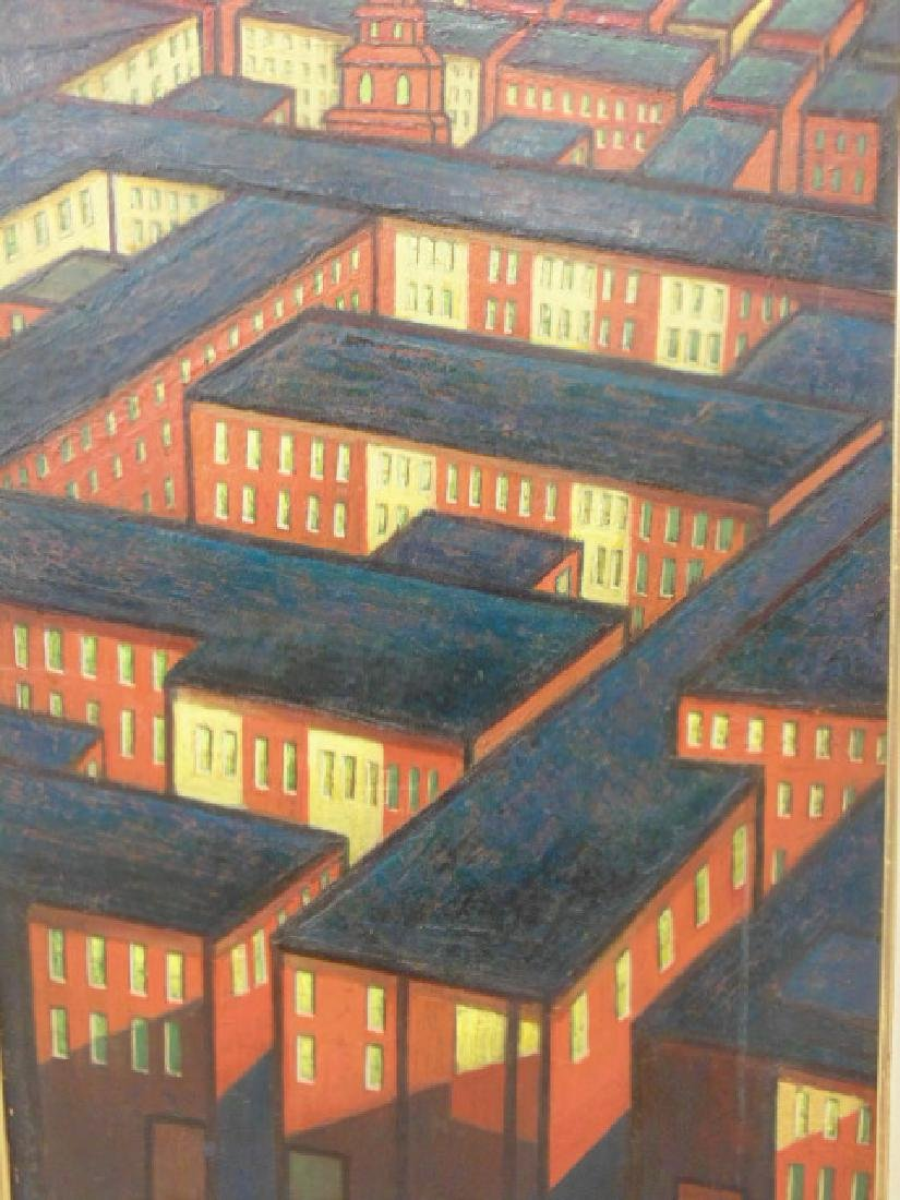 Painting, by Larry Edwardson, City mazelike rooftops, - 3