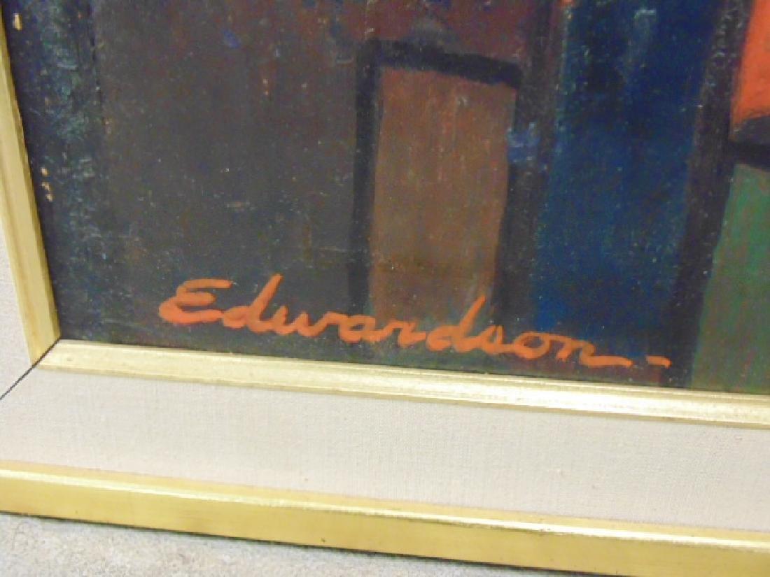 Painting, by Larry Edwardson, City mazelike rooftops, - 5