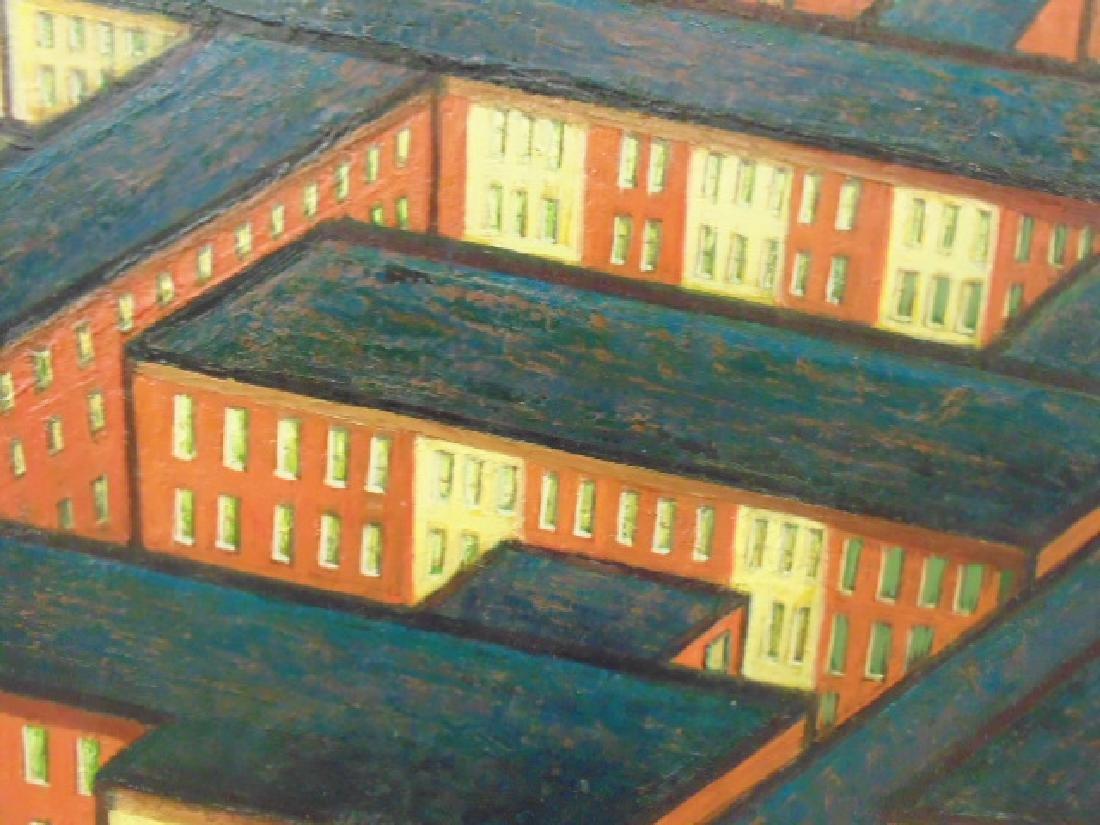 Painting, by Larry Edwardson, City mazelike rooftops, - 6
