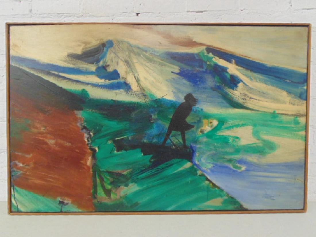 Painting, silhouette, figure in storm, Woodstock school