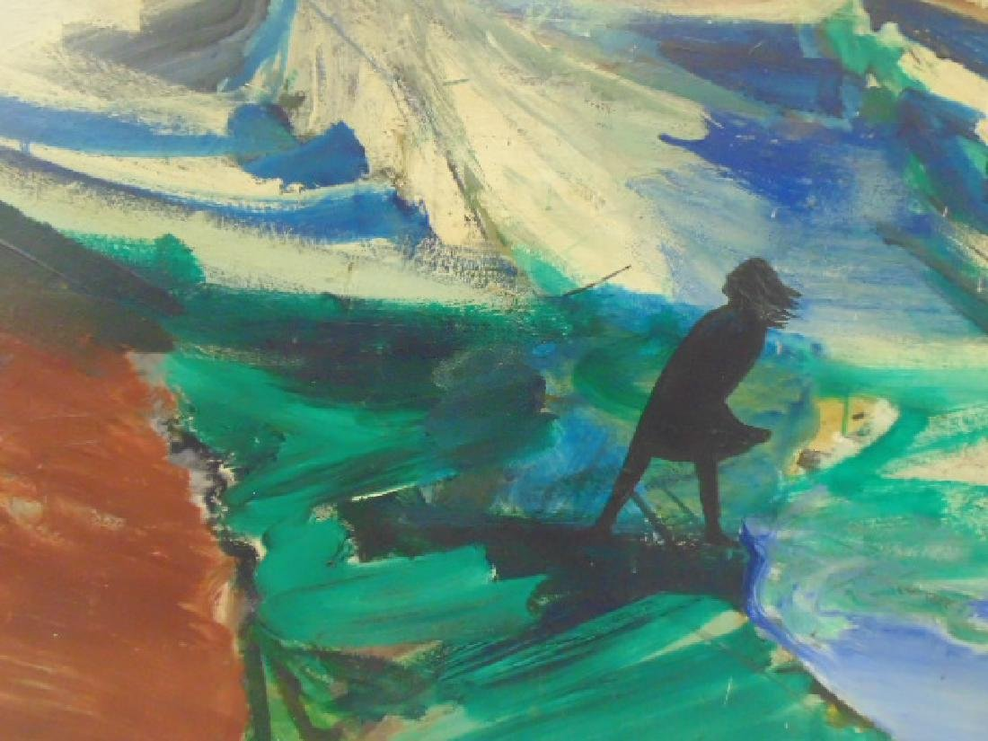 Painting, silhouette, figure in storm, Woodstock school - 2
