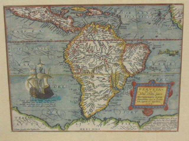 Antique map, south America, Peruvia id est, Novi Orbis