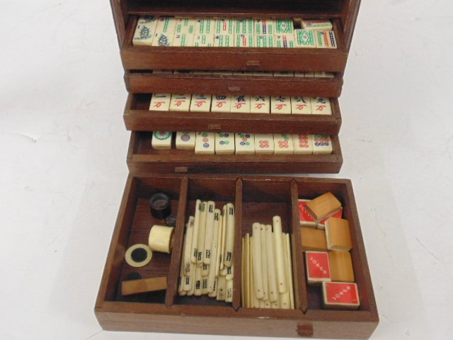 Bone & bamboo mahjong set in carved case, 5 drawers - 2