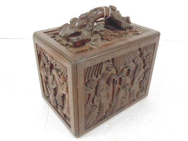 Bone & bamboo mahjong set in carved case, 5 drawers - 9
