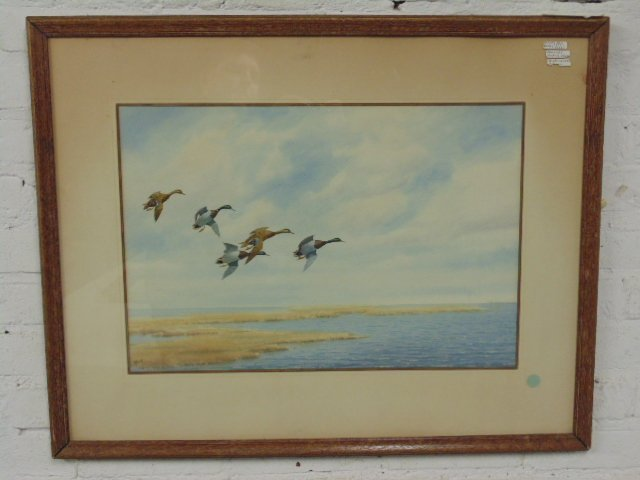 "Watercolor, ""Mallards Slanting Down"", Joseph Day Knap"