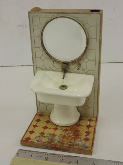 Marklin, Germany tole & porcelain dollhouse vanity